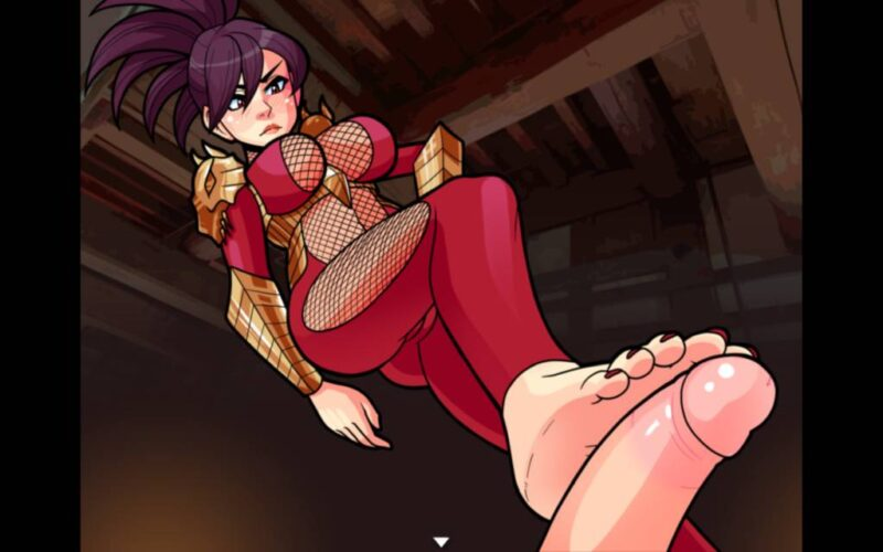 Town of Passion. ninja women gives a footjob while standing in her red sexy ninja suit