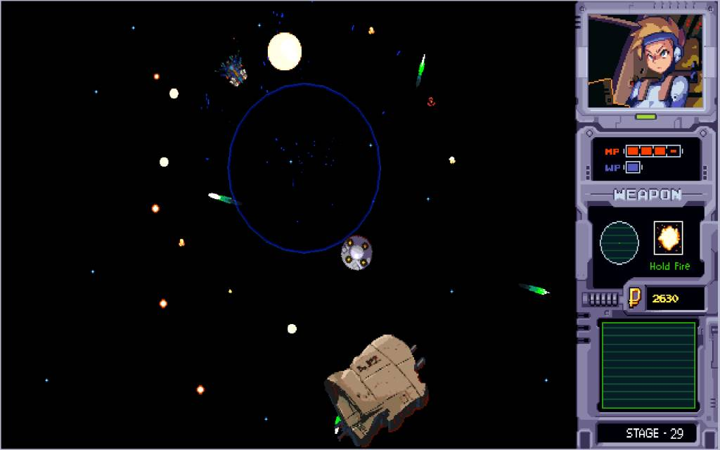 Aster. heroine uses a bomb weapon to destory asteroids