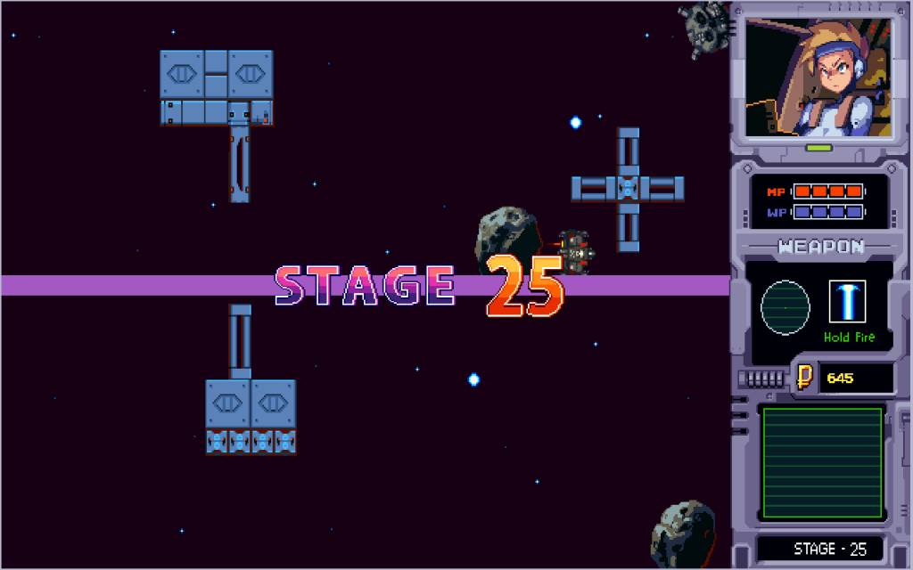 Aster. beginning of stage 25 with some structures and asteroids as obstacles
