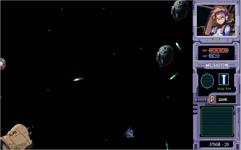 Aster. flying trough stage 29 with some debris and asteroid as obstacles