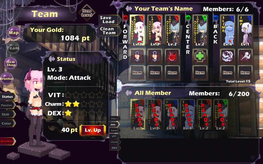 Attack It Devill Legion. team setup menu to organize your minions