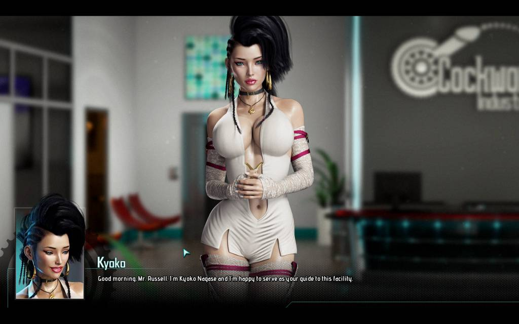 Cockwork Industries. kyoko welcomes the protagonist in her white skimpy short dress