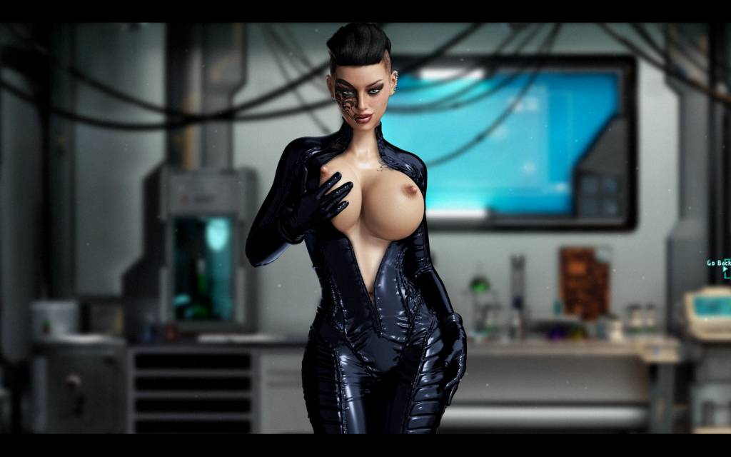 Cockwork Industries. rita flashes her big boobs in her leather one piece suit