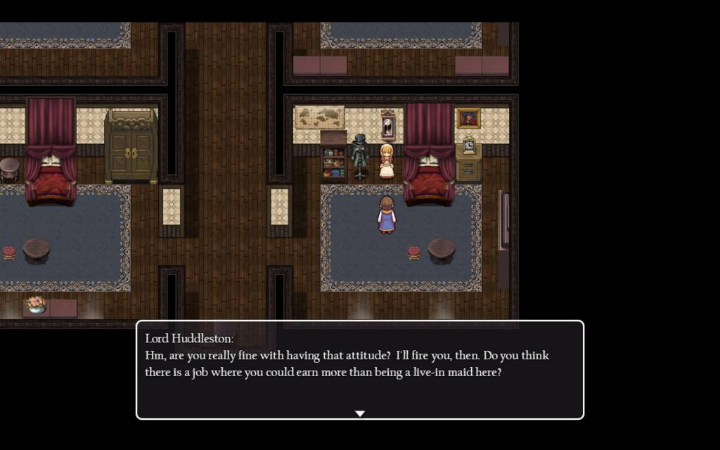 Detective Girl of the Steam City. a scene where huddleston threatens sarah if she does not give him her body
