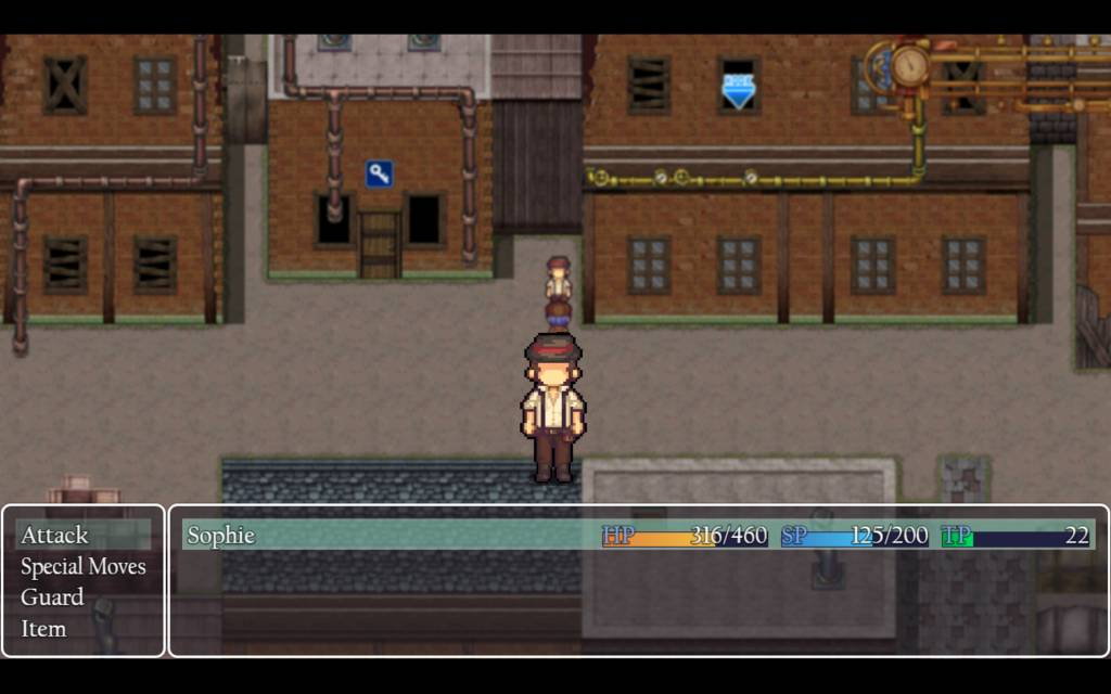 Detective Girl of the Steam City. classic rpg turn based battle against a thug
