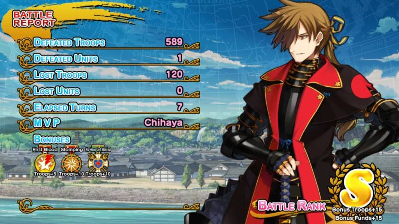 Eiyu Senki GOLD. combat reward screen with ranking S, and some statistics