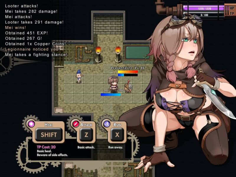 Explorer of Yggdrasil. mei fights an legionnaire, the options to heal, attack and run are shown