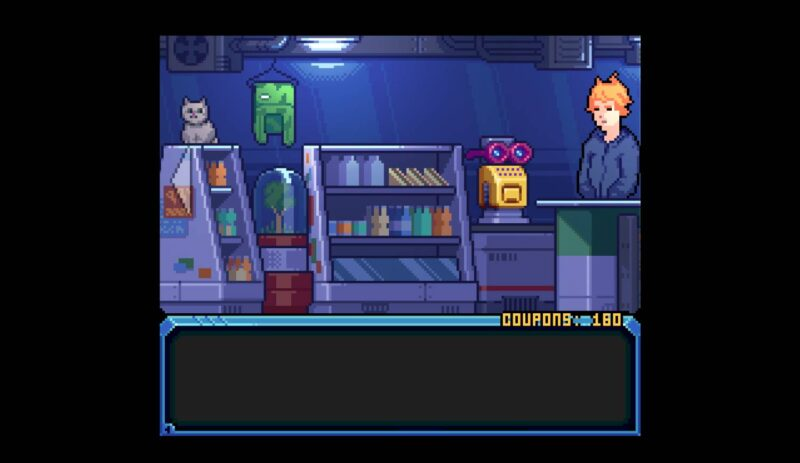 Hardcoded. small supermarket with a white cat chilling on a shelf