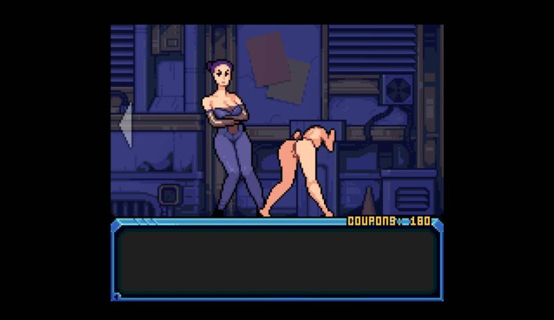 Hardcoded. a mistress oversees a horny women bound in a pillory waiting for a customer