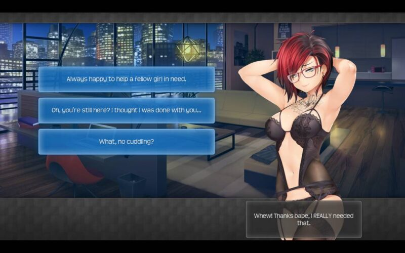 Hunie Pop 2. three answers to choose from after sex with ashley
