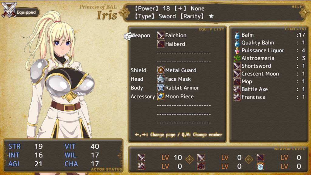 Island SAGA. equip screen of iris with multiple weapon and accessory slots