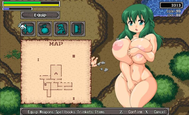 Juuyoku no jousai. checking the map while the protagonist is being displayed naked trying to cover her parts