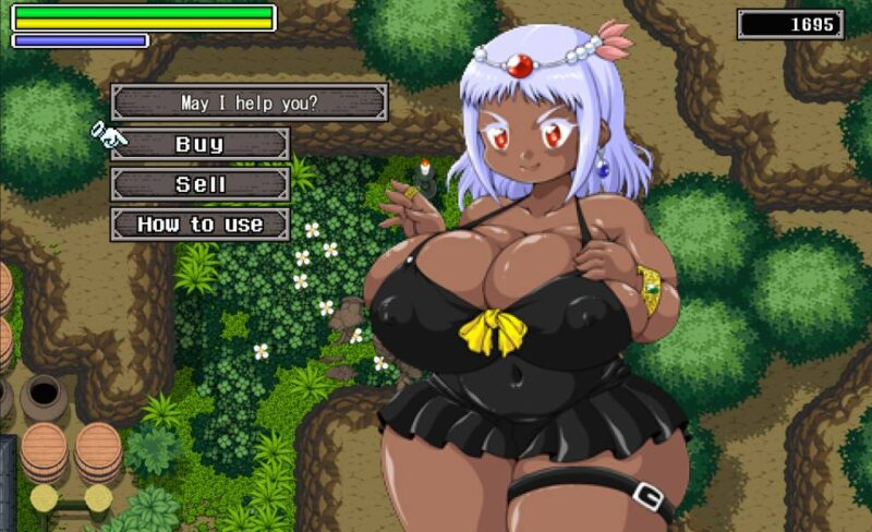 Juuyoku no jousai. talking with the spellcaster merchant, clothed in a black one-piece barely holding her huge boobs