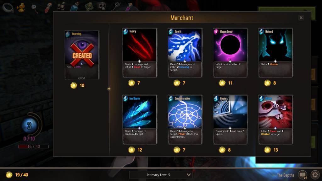Last Evil. merchant shop with various cards for your deck