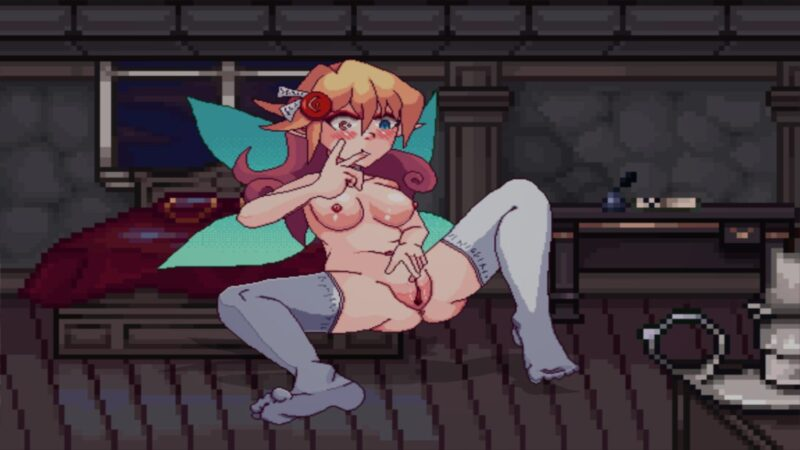 Magical Waifus Academy. fae masturbates with her fingers. spread open
