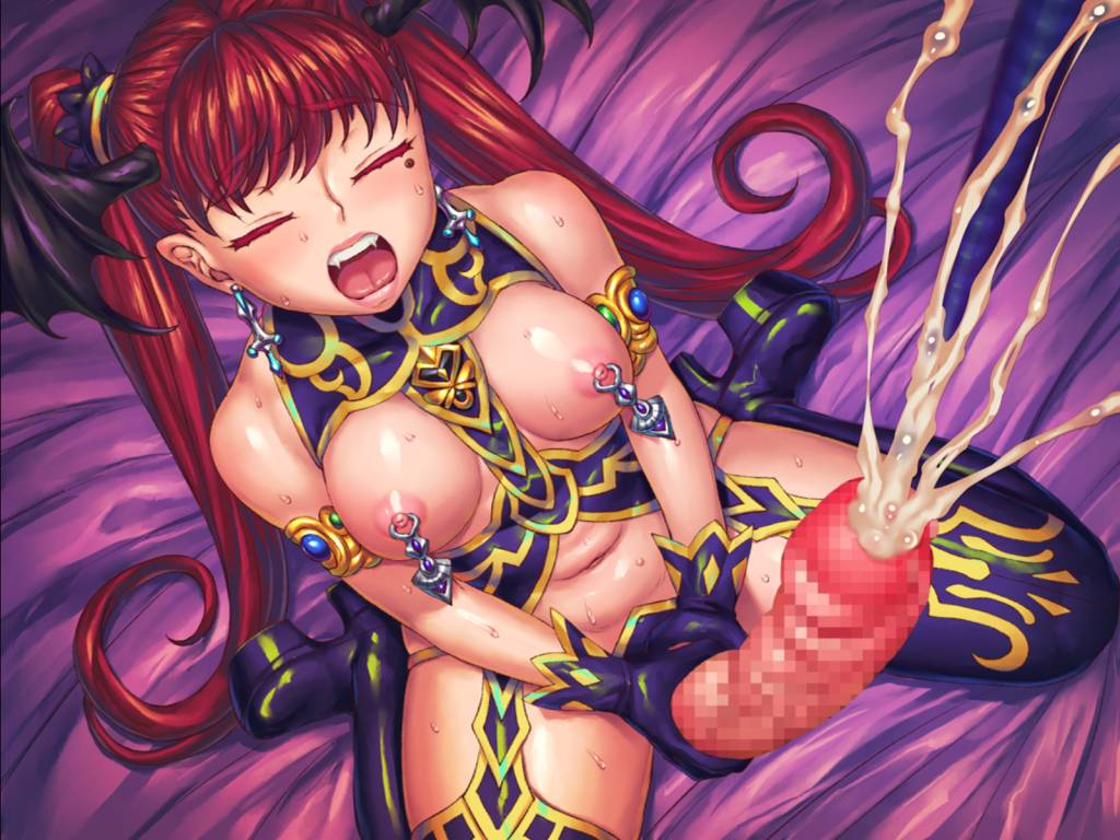 Manor of Mystic Courtesans. nina cums with her huge dick after stroking it, hanging piercings decorate her nipples