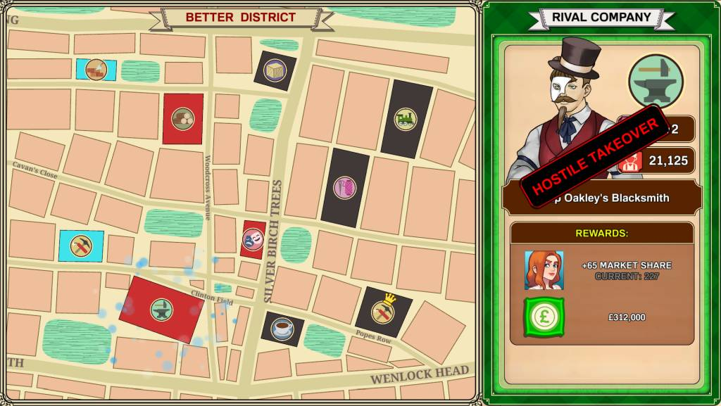 Max Gentlemen Sexy Business. district selection menu to choose which district should be taken over next