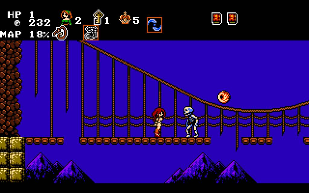 Midnight Castle Succubus. a bridge with holes is haunted by skeletons and flying eyes