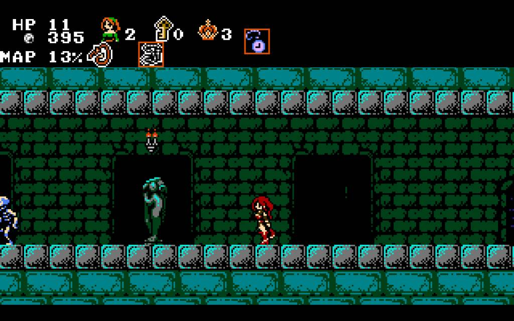 Midnight Castle Succubus. a hallway with skeletons and statues of naked women without a head