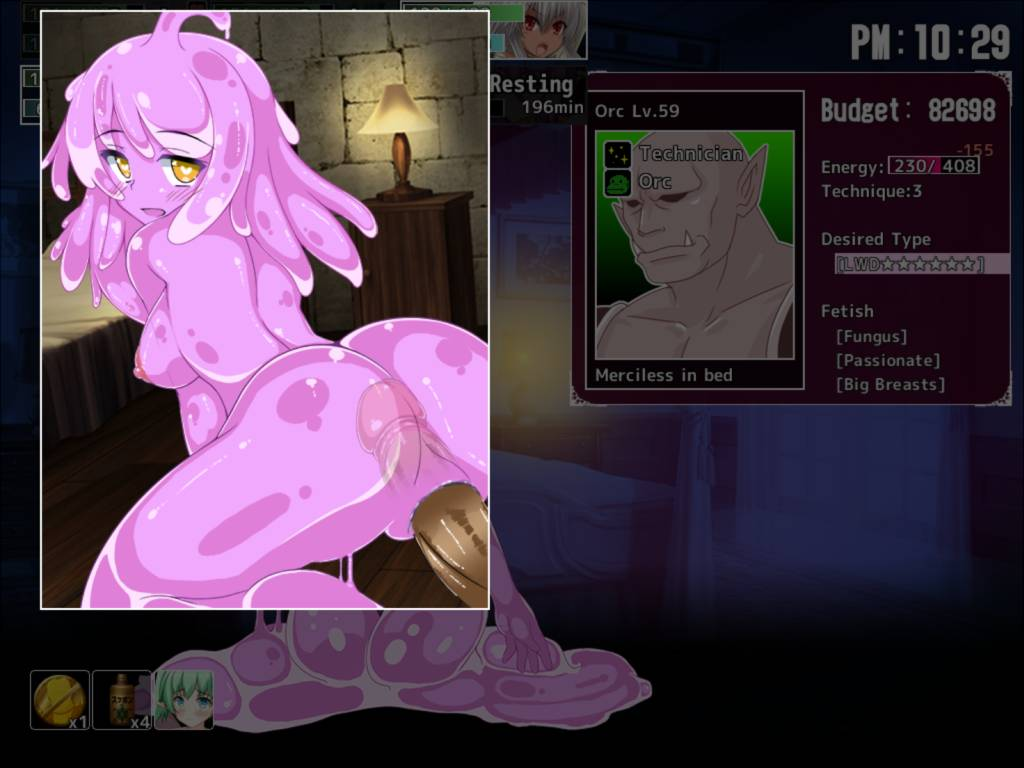 Monster Girl Club Bifrost. slime gets fucked by a customer from behind. the penis can be seen through her gel