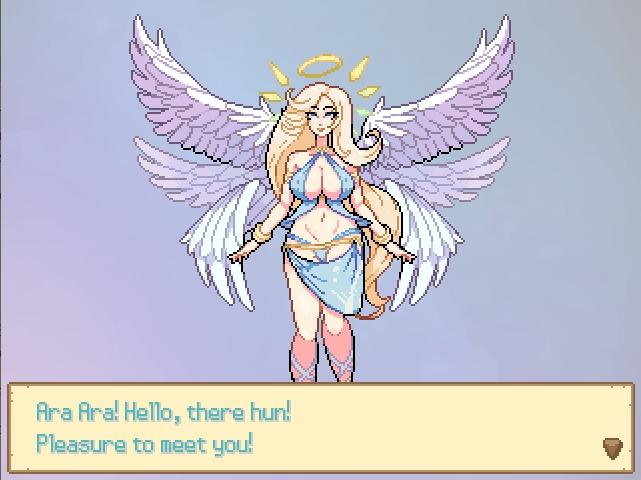 Monster Girl Odyssey. Goddess Venus greets you. she got 6 white wings, a halo, and wears a skimpy blue bikini