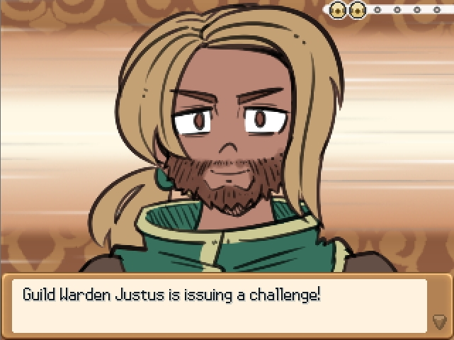 Monster Girl Odyssey. Guild Warden Justus challenges you to a monster girl fight. he got a pony tail and full beard