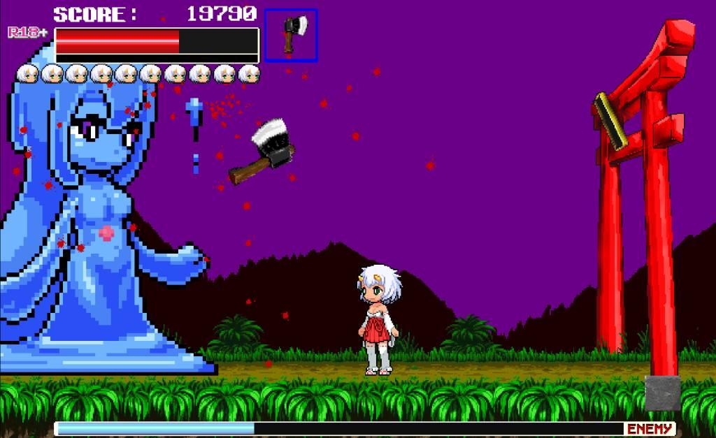 Monster Surprised You-ki Chan! you-ki throws an axe at the big female slime boss