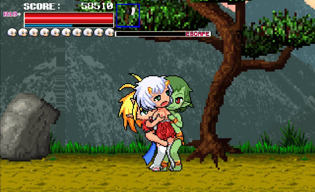 Monster Surprised You-ki Chan! you-ki gets fondled at ther small boobs by monsters