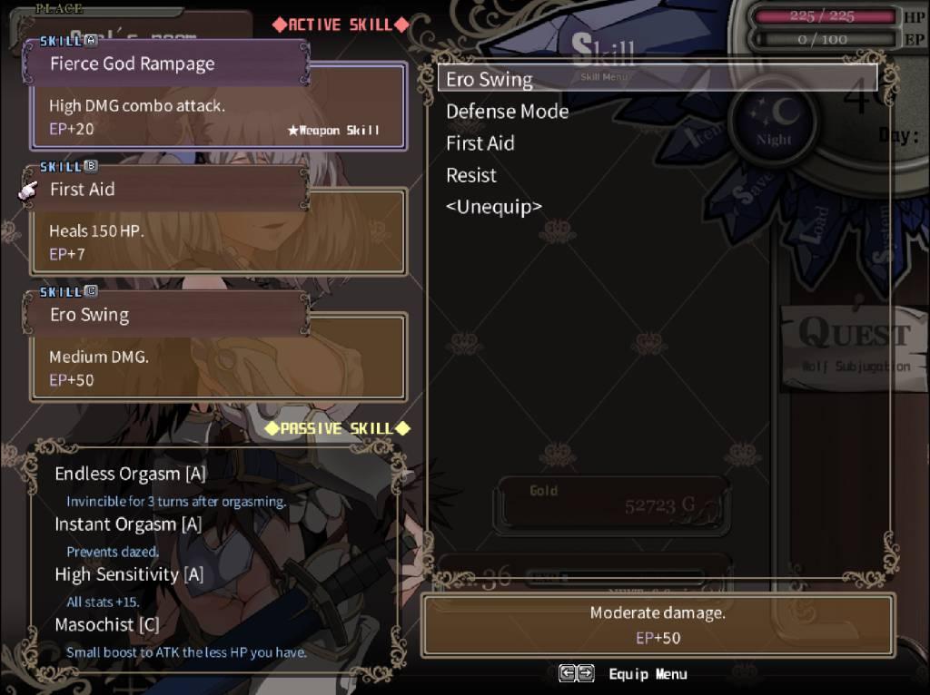 Niplheim's Hunter. skill menu where you can set your preferred skills