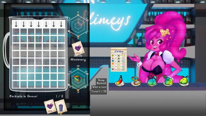 Slime Girl Smoothies. Cherry is ready to mix. Gameplay screen is shown to where you mix ingredients
