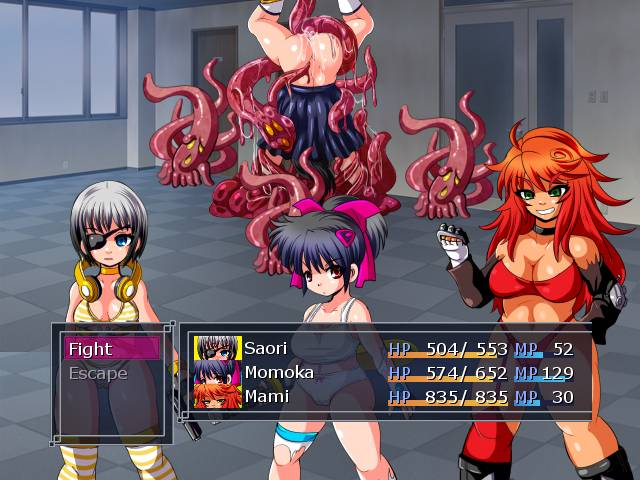 SNEAK IN DESPERADA. the team fights against the first tentacle boss. it is a girl that is held and fucked by tentacles