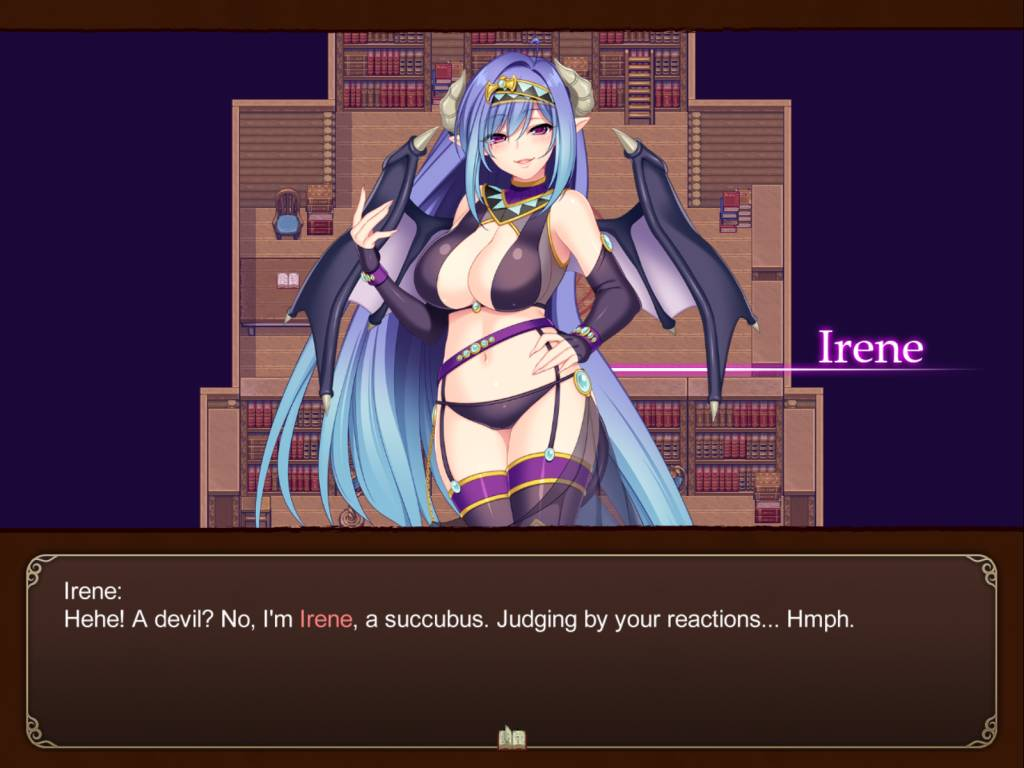 Tear and the Library of Labyrinths. irene the succubus makes her introduction. she wears something similar to a bikini