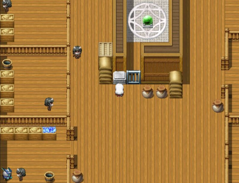 Victoria's Body. victoria is looking at a puzzle in the barn. many enemies roam around