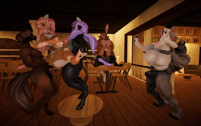 Yiffalicious. orgy in the bar with some females having a pregnant belly